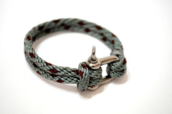 Jewelry Bracelets Cuff -Nautical Sailing Bracelet  Stainless steel  Shackle Mens Bracelet Mens Jewelry Rope Bracelet-  Gift idea for him