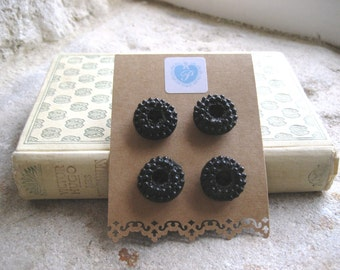 4 x French Vintage Black Buttons with Bobble Design - 21mm