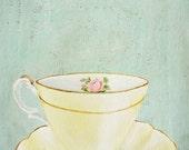 Vintage Yellow Tea cup Art Print Pastel kitchen decor Yellow mint wall art. Dainty rose teacup saucer painting. Feminine art poster