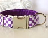 Purple White Checkered Dog Collar - Go TCU