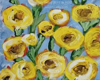 Bright & Cheerful, Yellow Flowers, Red Vase, Blue Back,  Flower Painting, Floral Art, Winjimir, Home Decor, Wall Art, Gift, Original Art