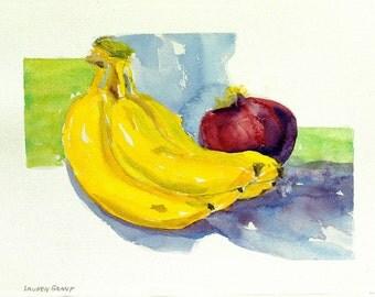 """Kitchen art, watercolor print vivid bananas still life, digital print from my original watercolor painting, 9"""" x 12"""" Bananas with Onion"""