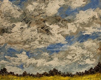 Textured, Landscape Painting, Original Painting, Cloudy Day, Wind, Yellow Field, Office Art, Office Decor, Home Decor, Winjimir, Gift, Art