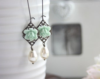 Mint Lily Flower and Swarovski Ivory Teardrop Dangle Earrings. Cottage Rustic Vintage Style. Wedding Jewelry. Bridesmaid Gifts. Mint Wedding