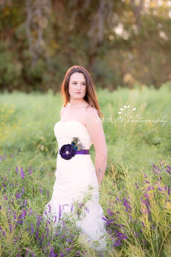 Peacock sash bridal sash wedding sash bridal by for Peacock wedding dress sash