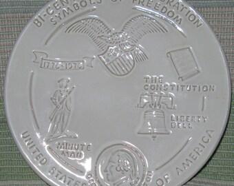 Vintage Frankoma Symbols of Freedom Collectible Bicentennial Celebration Plate