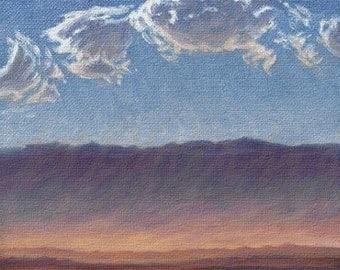 California 'Desert Sandstorm' - original Landscape painting - plein air - oil - sunset - sky - contemporary - 6x6 - square - clouds