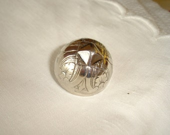 Big Vintage Silver Peasant Button, rare XL-large Jumbo Size, engraved hollow dome-shape Button