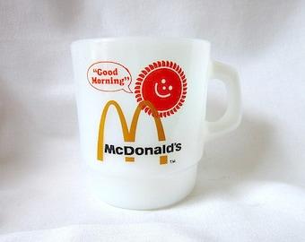 McDonalds Coffee Mug, Anchor Hocking, Fire King Milk Glass Mug  ID 069