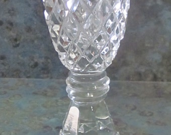 Vintage Cut Glass Diamond Shape Prism Cuts Perfume Bottle 1950 Era