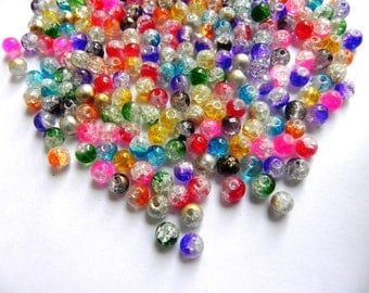 Supplies beads 50 pcs DOUBLE TONE ICE  Beads handmade 7mm glass beads mix.