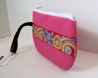 Bright Pink Fabric Wristlet, IPhone Wristlet, SmartPhone Wristlet, Zippered Wristlet