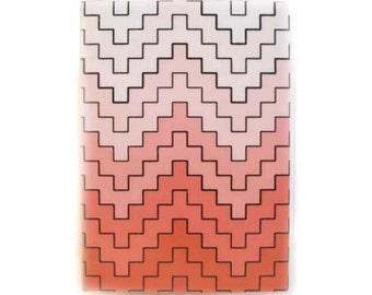 Passport Cover - Stepped Chevron - coral, apricot, and peach ombre bargello stripe -  passport holder - travel accessory - passport case