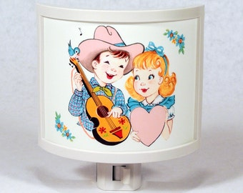 Adorable Vintage Cowboy Serenade Night Light Nursery Bathroom hallway Bedroom GET IT nightlight Nite Lite Gifts under 25