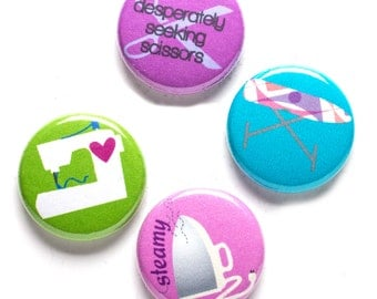 Sewing Theme Buttons, 1 inch pin back, Steamy Sewing Tools, Set of 4