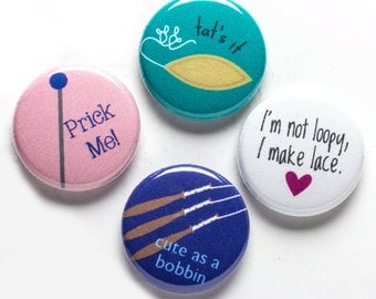 Lace Maker Theme Buttons, 1 inch pin back, Loopy Lace, Set of 4