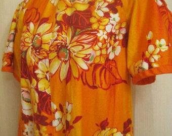 Vintage Hawaiian Orange Maxi Dress