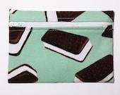 Zipper Pouch Coin Purse- Maria Kalinowski Fabric - Ice Cream Sandwich - Mint Purple