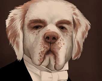 Carson Clumber Spaniel Portrait - Downton Abbey - 8x10 Signed Print