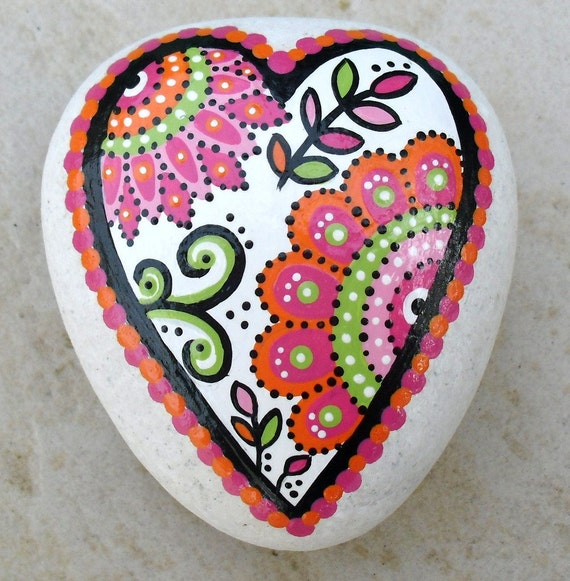 Hand Painted Abstract Heart Flower Orange And Pink Original