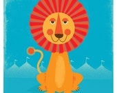 Sun Lion Art Print Modern Nursery & Kids Room Friendly 12x12 Record Frame Sized Print