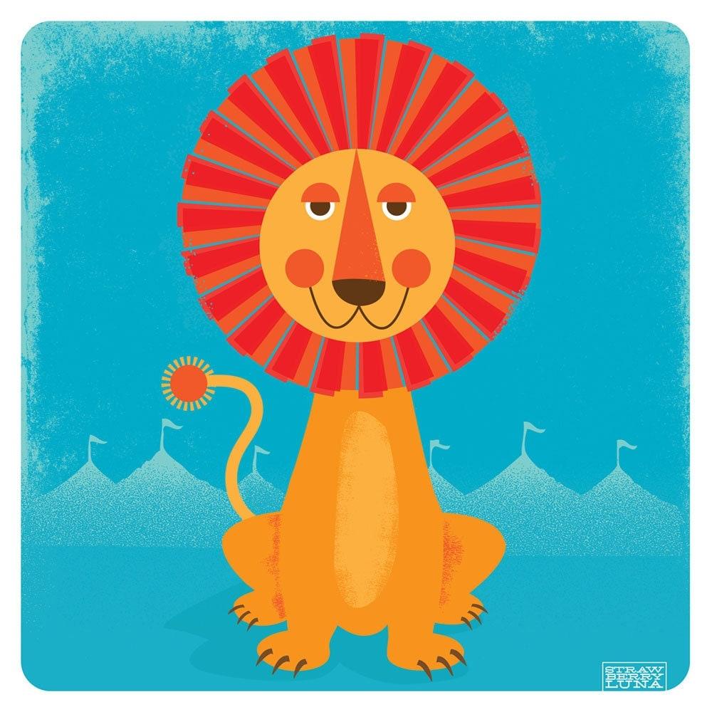 sun lion art print modern nursery kids room friendly 12x12. Black Bedroom Furniture Sets. Home Design Ideas
