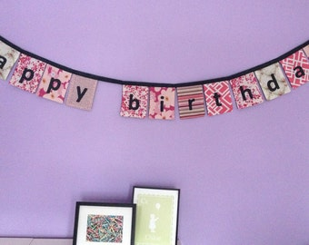 Happy Birthday banner in Pinks