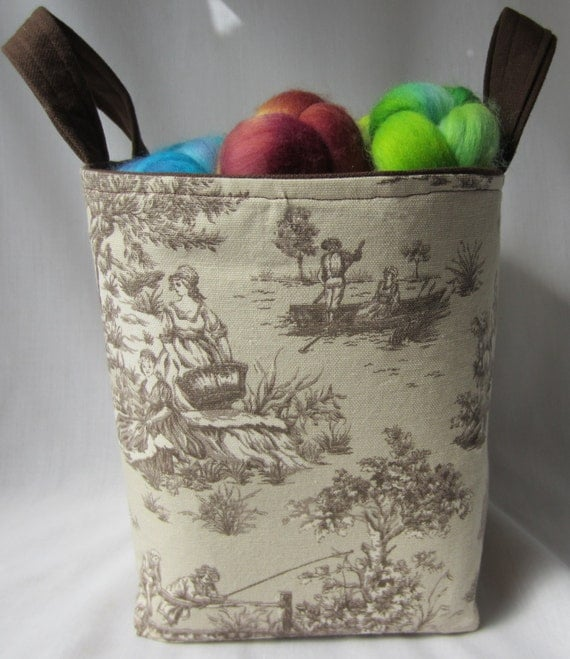 Brown Toile Fabric Basket