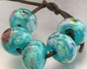 Mermaid 's Cove 5 Lampwork Spacer Handmade frit Glass Beads Aqua Turquoise