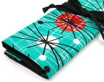 Large Knitting Needle Case - Atomic - 30 black pockets for straights, circulars and dpns plus accessories