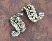 Antique Art Deco Rhinestone Clip Earrings Rhodium Paste Circa 1930
