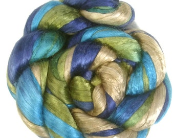 Handpainted Bombyx Silk Roving - 2 oz. BLUE EYES - Spinning Fiber