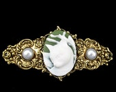 Hair Barrette Green and White Cat Cameo with Faux Pearl Accents