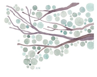 Watercolor Landscape Painting Frosted Jade Original Tree Painting Watercolour Wall Art