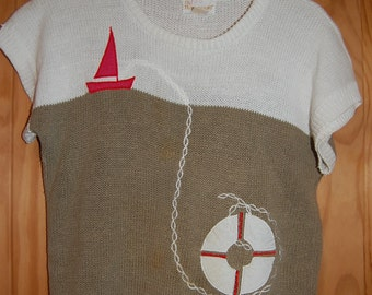 Vintage 80s Its Pure Gould Nautical Sailing Themed Short Sleeve Preppy Sweater Size Small