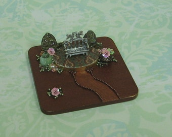 Miniature Fantasy/Fairytale Garden & Bench Scene Figurine