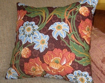 Pillow Cover, Brown Blue Green Pink Orange Flowers 16 inch