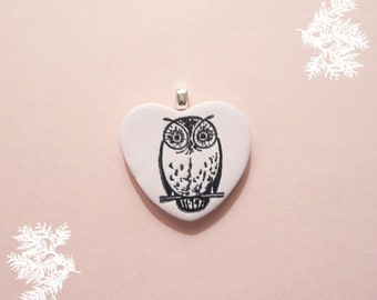 Owl Heart Pendant or Pin Brooch Jewelry, Owl Always Love You, Light Pink Jewelry, Nature Lover Gift, Optional Necklace Woodland Polymer Clay