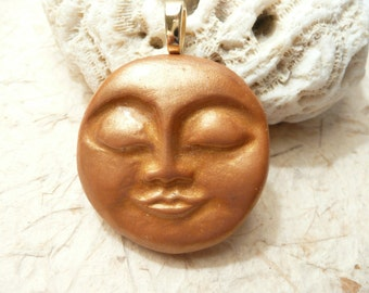 Golden Moon Face Pendant, Optional Chain Necklace, Autumn Moon Jewelry, Smiling Moon Face Harvest Moon Sleeping Moon, handmade polymer clay