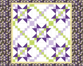 PDF Quilt Pattern, Star Quilt, Daisy Garland, beginner quilt, fast and easy to make, fully illustrated, Wall Hanging, baby quilt, lap quilt