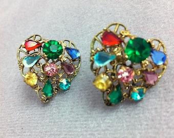 Vintage Gold Filigree Heart Multicolor Rhinestone Earrings