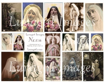 Beautiful NUNS vintage images DOWNLOAD digital collage sheet Victorian cards French postcards shabby altered art religious ephemera tinted