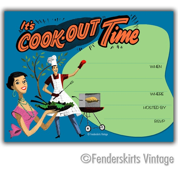 Retro Cookout Time  Party Invitations INSTANT DOWNLOAD Digital Printable