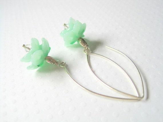 Mint Green Earrings -  Lampwork Glass Flower -  Dangle Drop - Sterling Silver Ear Wires