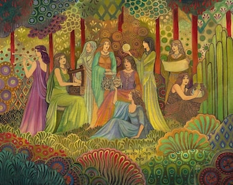 Nine Muses Psychedelic Art Deco Greek Goddess Art 16x20 Poster Print