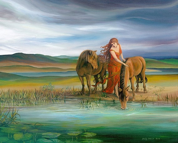 Epona Goddess Art Celtic Horse Goddess Art Pagan Equine 11x14 Print