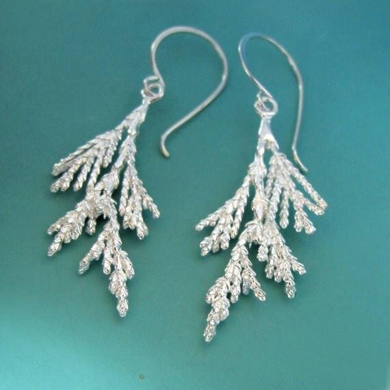 Juniper Branch Earrings - Sterling Silver Long Dangle Earrings
