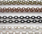 24 Inch Metal Oval Chain Neckalce - Choice of Shiny Silver, Antique Copper, Antique Gold and Black