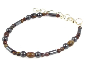 Healing Jewelry - Magnetic Hematite Anklet for GUIDANCE with brown pietersite stones - Unisex & Adjustable