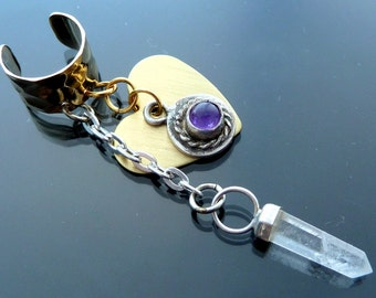 Heart Ear Cuff Purple Amethyst Rose Quartz raw crystal sterling silver gold steampunk